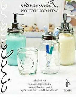 lancaster mason jar glass bathroom soap pump