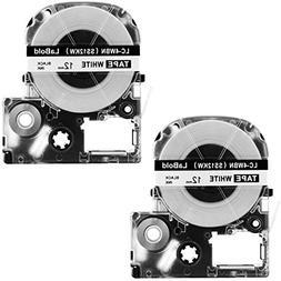LK-4WBN Label Tape, LaBold 2 Pack Compatible Epson LabelWork