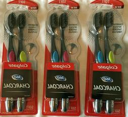 LOT OF 3-2 PK brushes Colgate 360 Charcoal Toothbrush Slimme