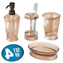 mDesign Bath Accessory Set, Soap Dispenser Pump, Toothbrush