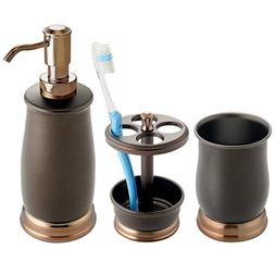 mDesign Metal Bath Accessory Set, Soap Dispenser, Toothbrush