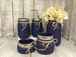 Mason Jar Bath Set of 5 | NAVY Rustic Distressed Farmhouse D