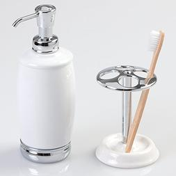 mDesign Ceramic Soap or Lotion Dispenser Pump with Toothbrus