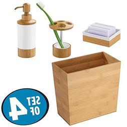 mDesign Soap Dispenser Pump, Toothbrush Holder Stand, Soap D