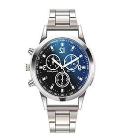 Vertily Watch Men's Luxury Quartz Silver Watch Stainless Ste
