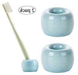 Airmoon Mini Ceramics Handmade Couple Toothbrush Holder Stan