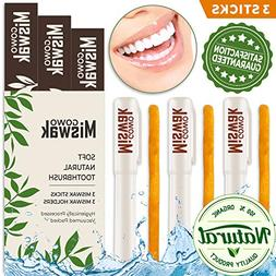 GOWO 3 Pack Miswak Sticks and Holders - Natural Teeth Whiten