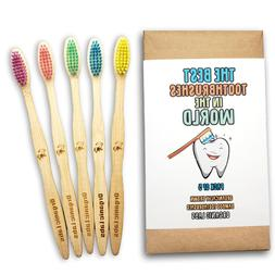 natural bamboo toothbrush bpa free bristles pack
