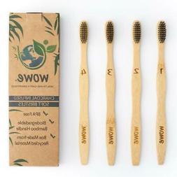 Wowe Natural Bamboo Toothbrush Individually Numbered Charcoa