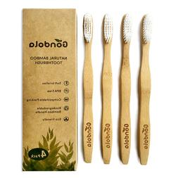 Gondola Natural Bamboo Toothbrush 4 Pack Adult Vegan Organic