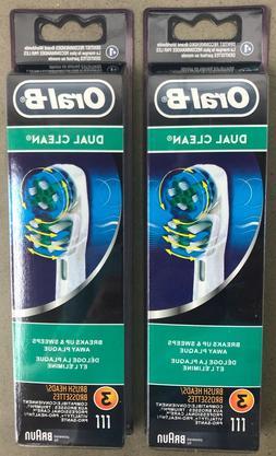 New 6x BRAUN ORAL B DUAL CLEAN TOOTHBRUSH REPLACEMENT BRUSH