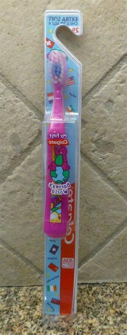 NIP Barney's World My First Colgate Toothbrush Purple Extra