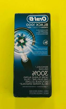 ORAL B BLACK 1000 CROSSACTION RECHARGEABLE TOOTHBRUSH NEW OP