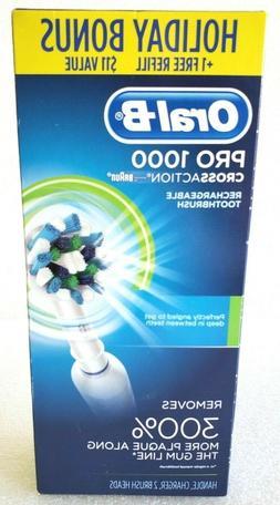 Oral-B Holiday Plus Bonus White Pro 1000 Power Rechargeable