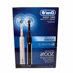 Oral B Pro 1000 CrossAction Electric Toothbrush Twin Pack Bl