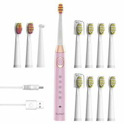 Fairywill Pink Electric Toothbrush Rechargeable 12x Brushes