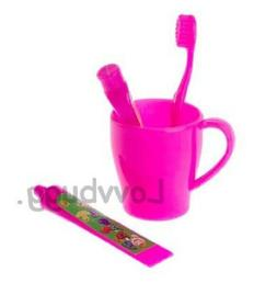 Pink Toothbrush Cup Set for American Girl & Wellie Wishers D