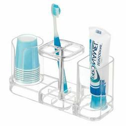 mDesign Plastic Bathroom Countertop Toothbrush Storage Organ
