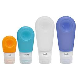 4 Pack Portable Silicone Travel Bottles Strong Suction Cup L