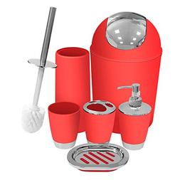 Red Bathroom Accessories Set 6 Pieces Plastic Bathroom Acces