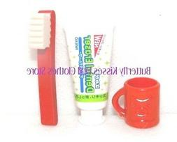 Red Toothbrush, Paste Cup 18 in Doll Clothes Accessory Fits