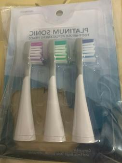 Set of 3 Replacement Brushes for Platinum Sonic Toothbrush