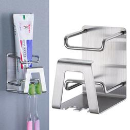 Self-adhesive Stainless Steel Toothpaste Toothbrush Holder H