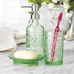Set Of 3 Glass Bathroom Toothbrush Holder Soap Holder Soap P