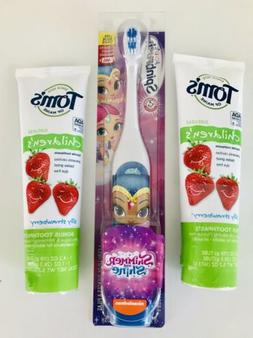 SpinBrush Shimmer Shine Kid's Toothbrush + 2 Toms Maine Stra
