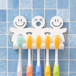Smile Face Toothbrush Holder Hanger Wall Mount Suction Tooth
