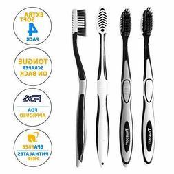 Trueocity Soft Charcoal Toothbrush  Fine & Gentle CrossActio