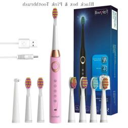 Fairywill Sonic Electric Toothbrush 5 Modes 7 Heads USB Rech