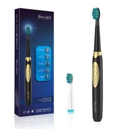 Electric Toothbrush Sonic Clean Teeth Waterproof 2 Batteries