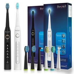 Sonic Electric Toothbrush Rechargeable 5 Modes Black/ White