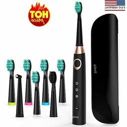 Sonic Electric Toothbrush with 8 DuPont Brush Heads & Travel