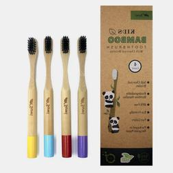 Suwi Kids Bamboo Toothbrush with Soft Charcoal Bristles Set
