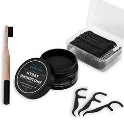 Natural Teeth Whitening Charcoal Powder  + Bamboo Toothbrush