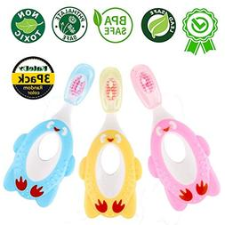 3 Pack Baby Toothbrush for 1 Year Up Infant Toddler,Baby Car