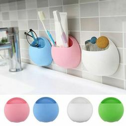 Toothbrush Bathroom  Toothpaste Holder Wall Mount Suction Cu