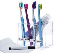 iZer Toothbrush Holder with Name Labels and Permanent Marker