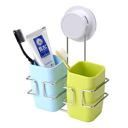 FAMLOVE Toothbrush Holder Stainless Steel Wall Mounted Bathr