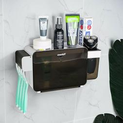 Toothbrush Toothpaste Holder Wall Mount Bathroom Caddy Organ
