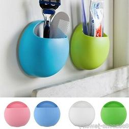Toothbrush Wall Mount Holder Sucker Suction Cups Organizer H
