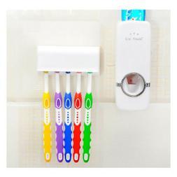 Toothpaste Dispenser + 5 Toothbrush Holder Set Wall Mount St