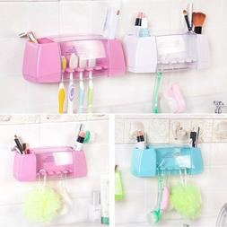 Toothpaste Toothbrush Holder Bathroom Wall Mount Stand Stora
