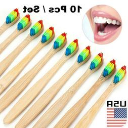 US 10Pcs/Set Wooden Tooth Brush Bamboo Toothbrush Oral Care