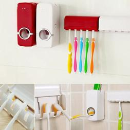 US!Auto Automatic Toothpaste Dispenser+5*Toothbrush Holder