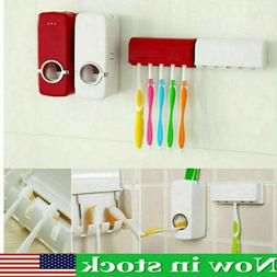 US Auto Toothpaste Dispenser Automatic+5 Toothbrush Holder S