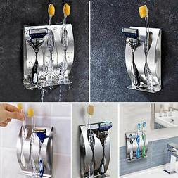 Stainless Steel Toothpaste Dispenser+2/3 Toothbrush Holder S