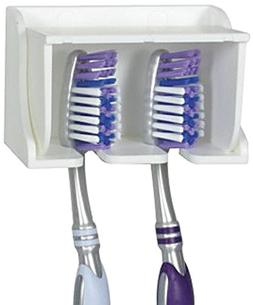 Wall Stick Mounted 2 Toothbrush Holder Set Stand with Cover